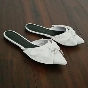 Point Toe Knot Bow Flat Mules